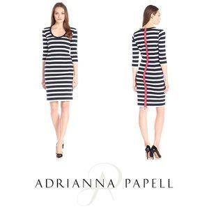 ADRIANNA PAPELL STRIPED SLIM PONTE DRESS